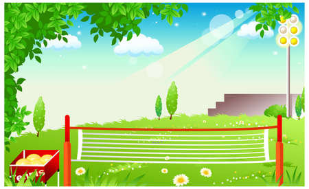 This illustration is a common natural landscape. Tennis balls and tennis net Stock Vector - 15887395