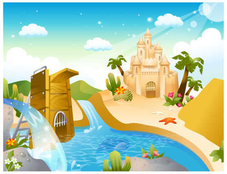 This illustration is a common natural landscape. Sand castle and diving board