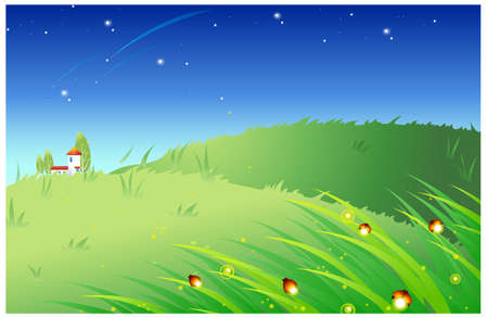 fireflies: This illustration is a common natural landscape. Grass with illuminated fireflies