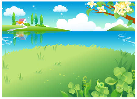 This illustration is a common natural landscape. Rural scene Stock Vector - 15900887