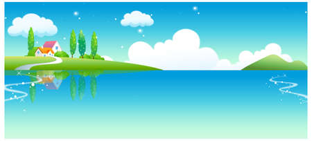This illustration is a common natural landscape. Rural house and lake Stock Vector - 15881548