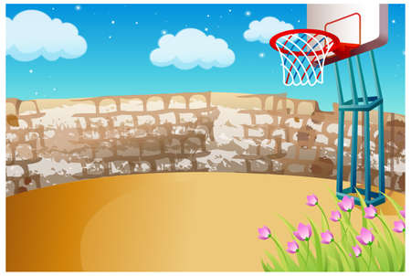 This illustration is a common natural landscape. Basketball on playground Stock Vector - 15881822