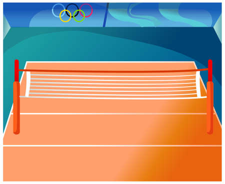 This illustration is a common natural landscape. Empty indoor tennis court Stock Vector - 15879789