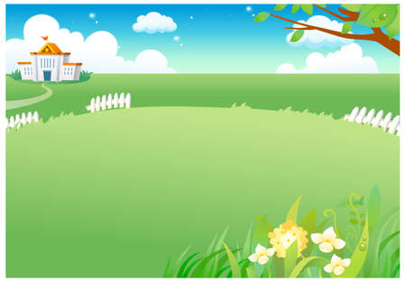 This illustration is a common natural landscape. Rural green landscape Stock Vector - 15881310