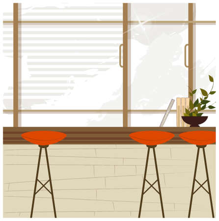 This illustration is a common cityscape. Stool near window