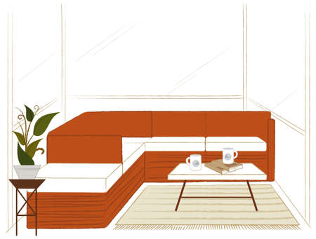 This illustration is a common cityscape. Living room with table and couch Stock Vector - 15901155