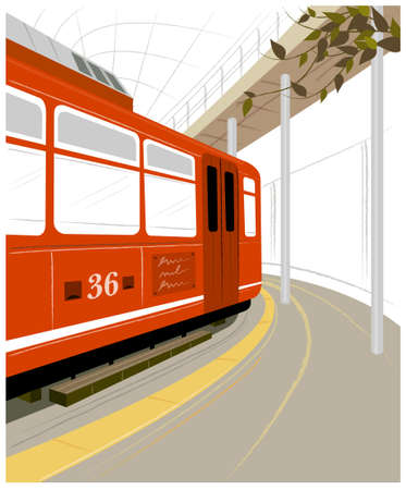 This illustration is a common cityscape. Train station platform and train Stock Vector - 15900774