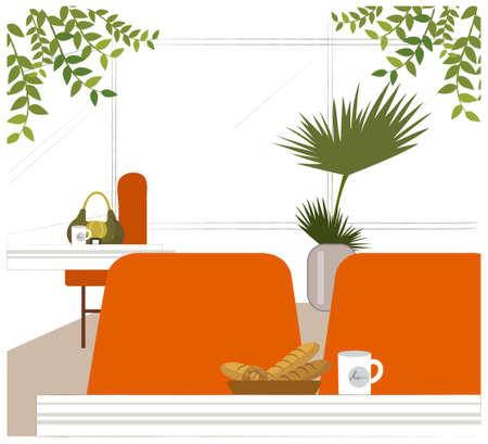 This illustration is a common cityscape. Cafe inter Stock Vector - 15881394