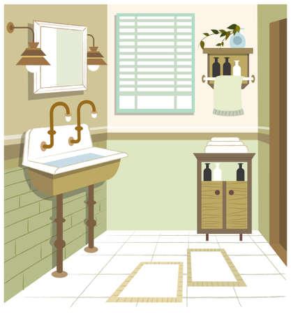 bathroom wall: This illustration is a common cityscape. Bathroom interior Illustration