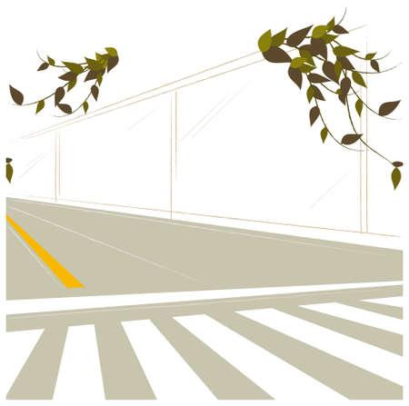 passage clout�: Cette illustration est un paysage urbain commun. Tableau de concordance et de la ligne de division sur la route