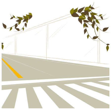This illustration is a common cityscape. Crosswalk and dividing line on road Stock Vector - 15881127