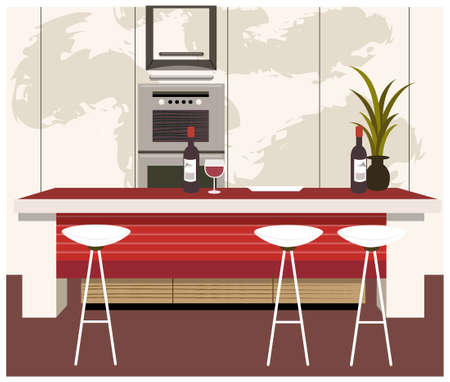 barstools: This illustration is a common cityscape. Modern kitchen with dining counter