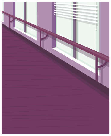 This illustration is a common cityscape. Office window with blind up Vector