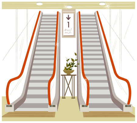 This illustration is a common cityscape. Escalator Stock Vector - 15881761