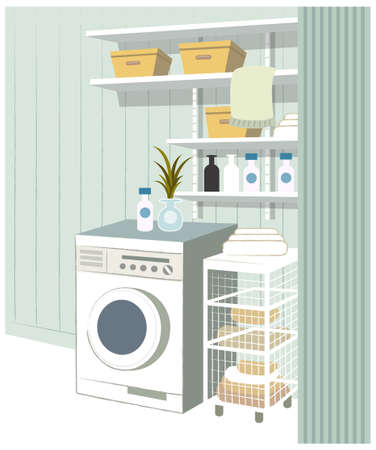 This illustration is a common cityscape. Empty laundry room in house Vector
