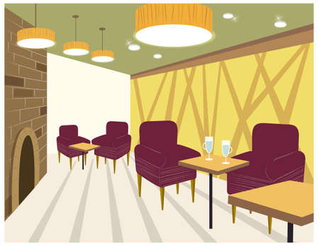 This illustration is a common cityscape. Restaurant interior Vector
