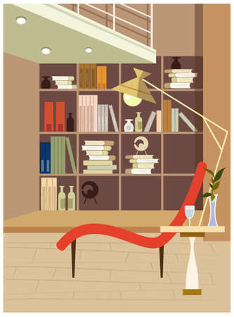 This illustration is a common cityscape. Interior view of a reading room Stock Vector - 15901024