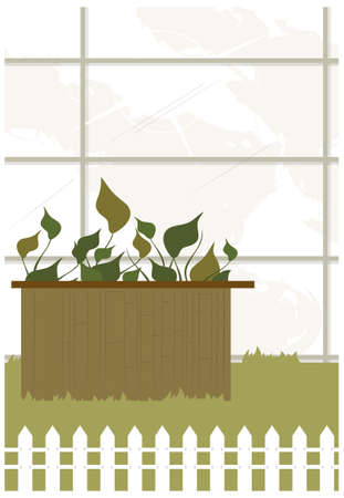 This illustration is a common cityscape. Gardening Stock Vector - 15881767