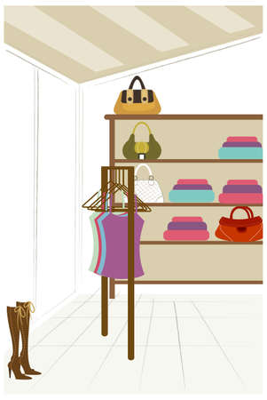 This illustration is a common cityscape. Department store Vector