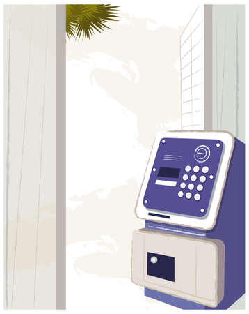 This illustration is a common cityscape. A public pay phone Stock Vector - 15881247