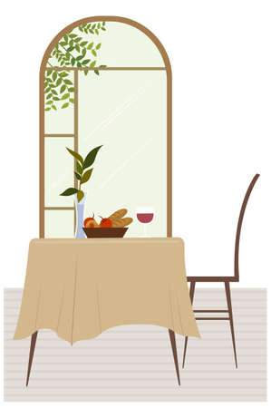 This illustration is a common cityscape. Cafe interior Vector