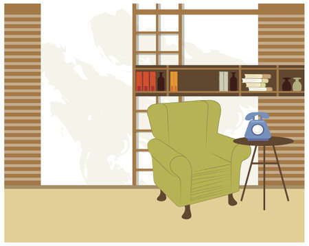 This illustration is a common cityscape. Bookshelf and chair Stock Vector - 15881236