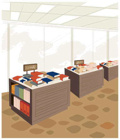 large group of objects: This illustration is a common cityscape. Bookstore interior Illustration