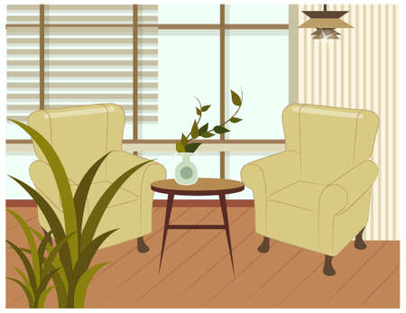 blind: This illustration is a common cityscape. Living room with armchair and table Illustration