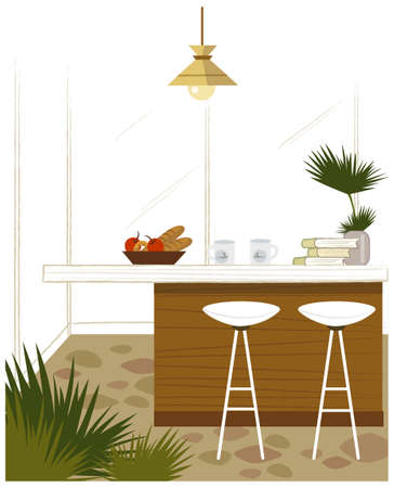 This illustration is a common cityscape. Breakfast on kitchen table Stock Vector - 15881590