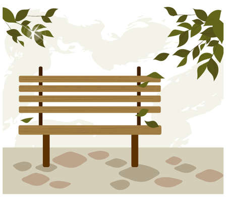 This illustration is a common cityscape. Bench in garden Stock Vector - 15881547