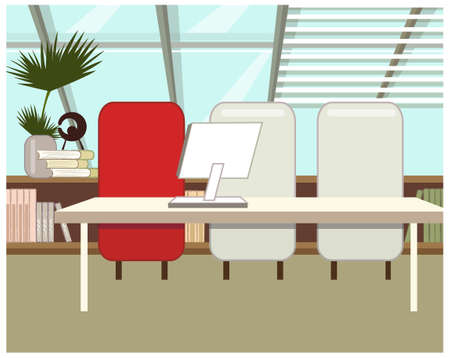 This illustration is a common cityscape. Office Interior Vector