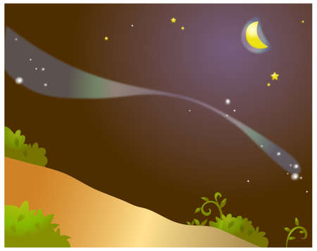 This illustration is a common natural landscape. The aurora borealis in sky Stock Vector - 15901581
