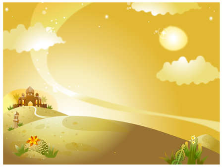 This illustration is a common natural landscape. Mosque on desert Stock Vector - 15901084