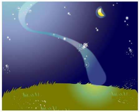 This illustration is a common natural landscape. The aurora borealis over green landscape Vector