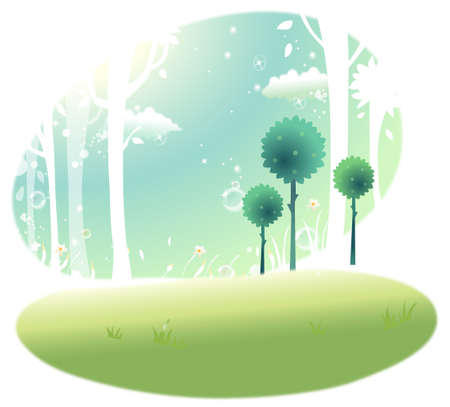 This illustration is a common natural landscape. Trees in winter Stock Vector - 15901314