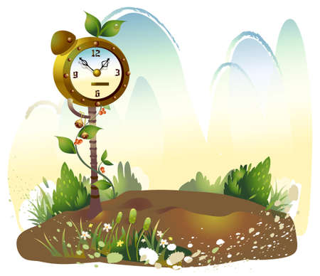 This illustration is a common natural landscape. Alarm clock in Meadow Stock Vector - 15881614