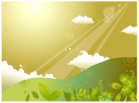 This illustration is a common cityscape. Rolling landscape and sky Stock Vector - 15901327