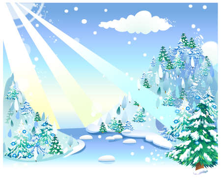 This illustration is a common cityscape. Fir tree on snow mountain Stock Vector - 15901719