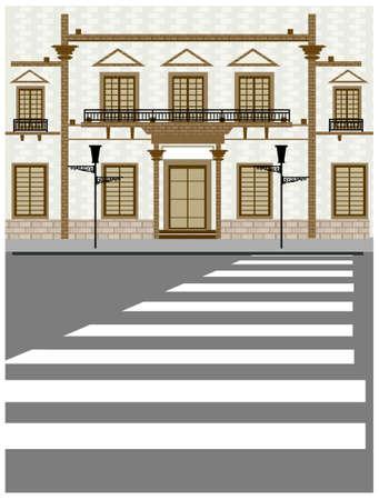 zebra crossing: Esta ilustraci�n es un paisaje urbano com�n. Edificio exterior y el paso de peatones en la carretera Vectores