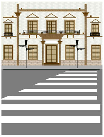 This illustration is a common cityscape. Building exterior and crosswalk on road Stock Vector - 15881135