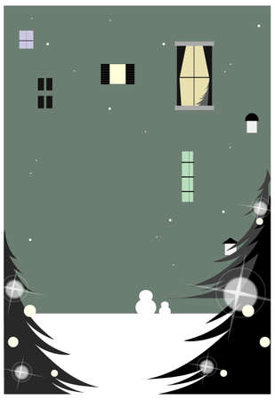 this illustration is the general nature of the winter landscape. Window on wall Stock Vector - 15881588