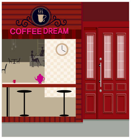 This illustration is a common cityscape. Cafe exterior Stock Vector - 15880069
