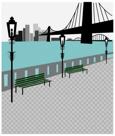 This illustration is a common cityscape. Brooklyn bridge and new york skyline