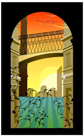This illustration is a common natural landscape. Building exter from arch window Stock Vector - 15881530