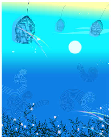 This illustration is a common natural landscape. Empty cage on background Stock Vector - 15901650