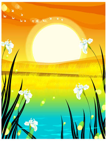This illustration is a common natural landscape. Sunrise background Stock Vector - 15901714