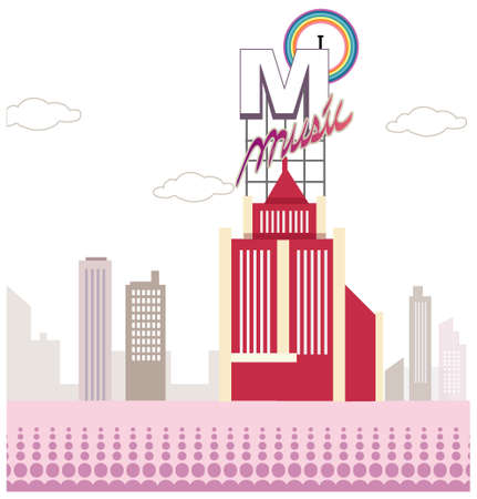 western script: This illustration is a common cityscape. Music hoarding over the building Illustration