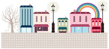 This illustration is a common cityscape. Street shop and cafe exterior Vector