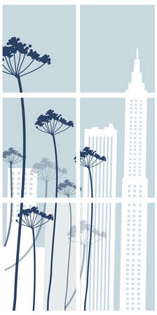 This illustration is a common cityscape. Building exterior from window Stock Vector - 15910373