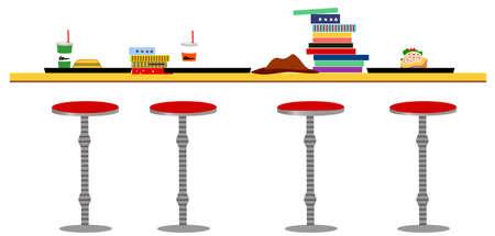 sgabelli: Questa illustrazione � un paesaggio urbano comune. Sgabelli disposti allo sportello caff� bar